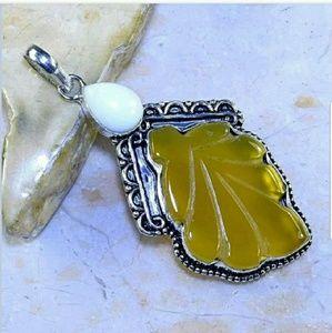Handmade Jewelry - Yellow Agate & White Jade .925 Pendant